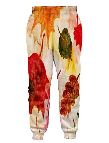Leapparel Unisex Vintage Blatt Skizze Grafik Design Hipster Stilvolle Jogging Hosen Sweatpants M - 2