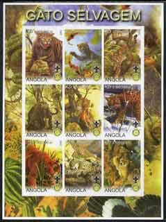 Angola 2000 Big Cats imperf sheetlet set of 9 values (vert format) each with Rotary & Scouts Logos, u/m CATS LIONS TIGERS LEOPARDS CHEETAHS ROTARY SCOUTS JandRStamps -