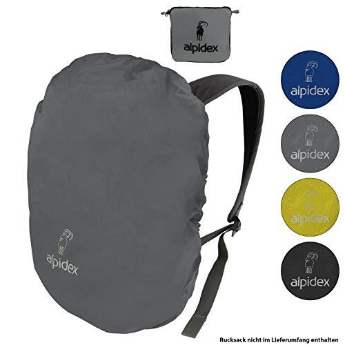 ALPIDEX Rucksack Regenschutz NO RAIN Regenhüllen Verschiedene Größen und Farben, für Rucksäcke Aller Marken, mit Kordelstopper und integriertem Packsack, Farbe:Grey, Volumen:30-55 Liter