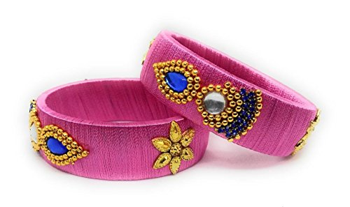 Sai Indian Traditional Handmade Silk Thread Bangle Set with Stone Work for Women & Girls