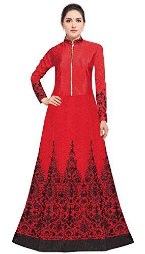 Siddeshwary Fab Taffeta Silk Anarkali Gown (Red_Semi Stitched_Free Size)