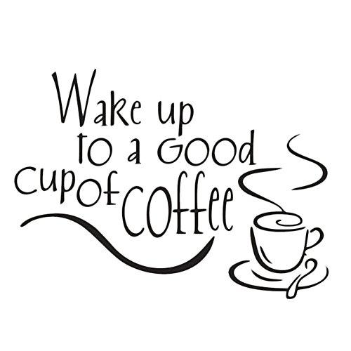 Preisvergleich Produktbild Doitsa Wanddeko Aufkleber Abziehbilder,Kaffeetassen Wasserdicht Kunststoff Wandtattoos Dekorationen für Café/Wohnzimmer schwarz 35 x 25 cm