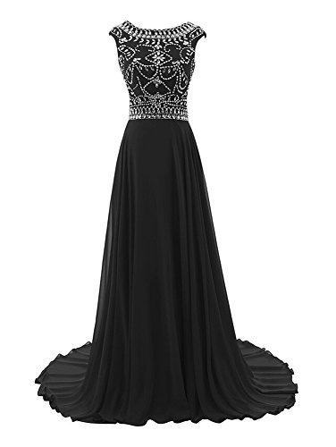 Bridal _ Mall Femme élégant Soirée Vêtements sol Long Strass Beading Prom Balle Vêtements Noir