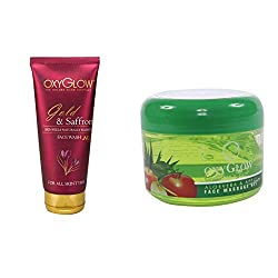 Oxyglow Golden Glow Gold & Saffron Face Wash With Oxyglow Aleo Vera & Apple Face Massage Gel