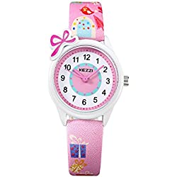 Kezzi k1423 Children's Watches for Girls Leather Strap Analogue Quartz Fashion