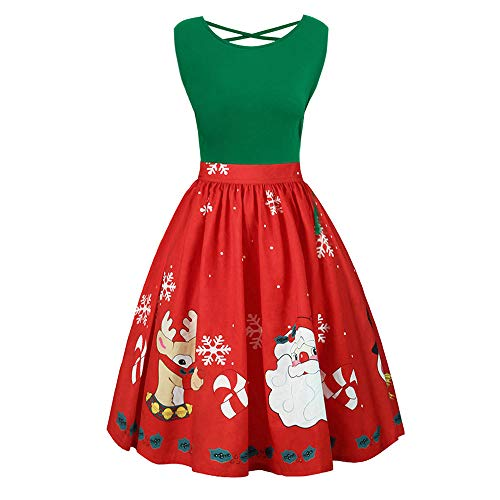 UJUNAOR Ärmelloses Damen-Print-Kleid mit gekreuzter Krawatte für Merry Christmas(Grün,CN 5XL)