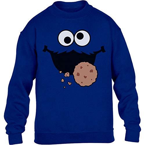 Monster Kostüm Sweatshirt - Kids Karneval & Fasching Keksmonster Krümel Kostüm Kinder Pullover Sweatshirt 110-116cm Blau