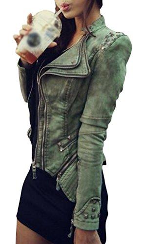 Brinny Damen Blogger Studded Jeansjacke Blazer Punk Biker Nieten jacke Spike Kurze Schulter Jeans Jacke Übergangsjacke Smoking Mantel Oberteil Sexy Rock und Punk Grün