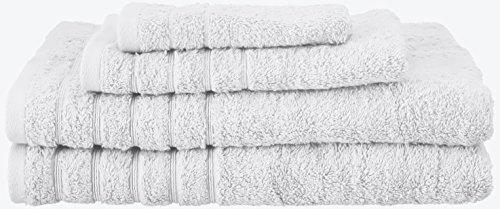 SALBAKOS Barnum 4PC 700GSM Türkisch gekämmte Baumwolle Familie Handtuch Set mit Bad Handtücher - Weiße Türkische Handtücher