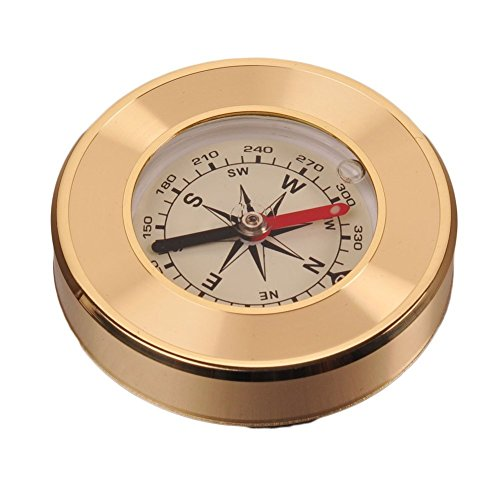 Portable Brass Round Golden Waterproof Compass Navigation Tool-- Outdoor Camping Hiking Exploration Compass