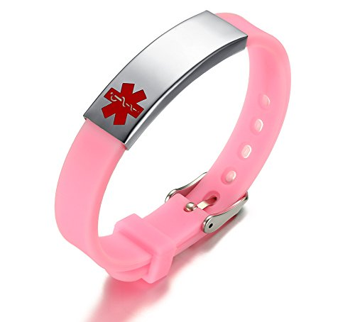 Vnox Edelstahl Pink Silikon Customized Medical ID Alert SOS Notfall Armband für Frauen Mädchen,frei graviert (Medical Alert Armband Frauen)