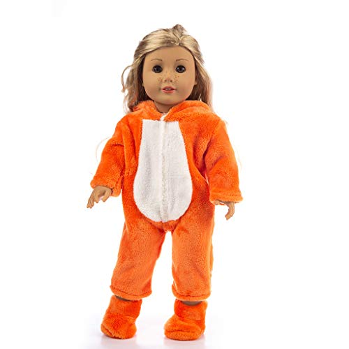 Gaddrt Puppenkleider Zubehör Kleidung Niedlichen Tier Overall Kleidung Mantel mädchen für 18 Zoll Puppe zubehör mädchen for American Girl Spielzeug (Orange) (18-zoll-american Mädchen Puppe)