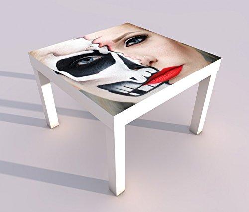 Design - Tisch mit UV Druck 55x55cm Monster Gesicht Horror Maske halb Frau Spieltisch Lack Tische Bild Bilder Kinderzimmer Möbel 18A1712, Tisch 1:55x55cm (Frau, Das Gesicht Halb-maske)