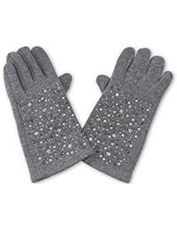 Elegante Damen  Handschuhe Perlen Weichen Innenfutter Winter CD-3