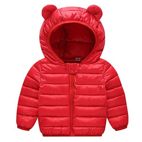 JiAmy Baby Daunenjacke Winter Daunenmantel Kapuzenjacke Ultraleicht Mäntel mit Kapuze Rot 6-12 Monate