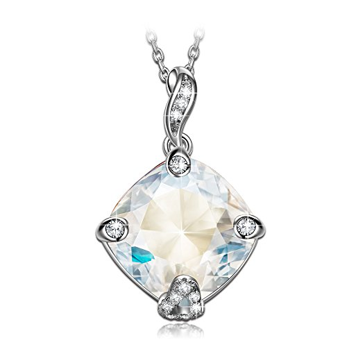 - 417e2KqnwoL - NINASUN Kite 925 Sterling Silver Women Necklace Pendant Swarovski Crystals White Allergen-free Fine Jewellery Gemstone Accessories Chain Extender Hoop Moonlight