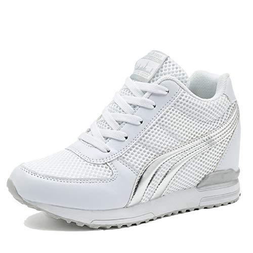 LILY999 Scarpe Donna Sneakers Zeppa Interna Scarpe da Ginnastica Sportive Fitness Basse Interior Casual all'Aperto(Bianco,37 EU)