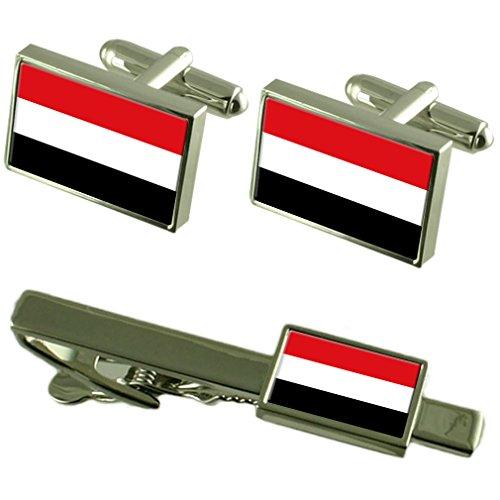 Clip de corbata gemelos Bandera de Yemen Matching Box Set de regalo