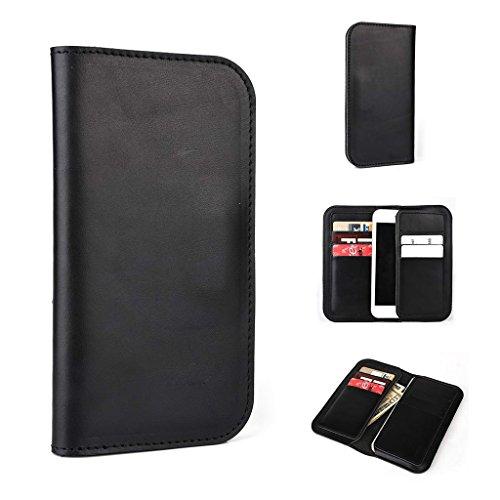 Étui portefeuille en cuir véritable pour Yezz ANDY 4E LTE Coque noir noir