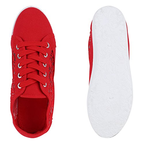 Basic Damen Sneakers | Sneaker Low Spitze | Stoffschuhe Schnürer | Freizeitschuhe Rot Spitze