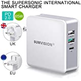 """Sumvision 65W PD USB Type C Power Delivery Multi Port Wall Charger for Apple Macbook Pro 13"""", Laptops, iPhone, ipad, Android, Nintendo Switch, Tablets, USB Type A Quick Charge 3.0 Travel Adaptor"""