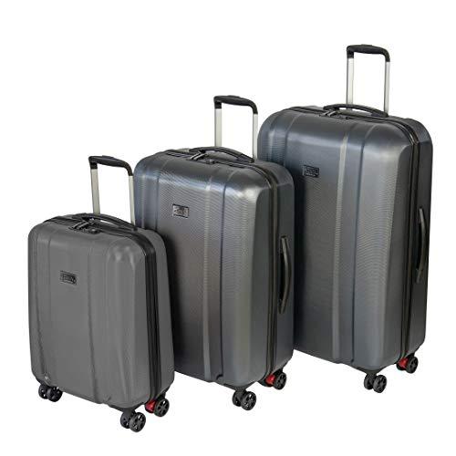 Hochwertiges Sioux Marken-Reisekoffer-Set 3 teilig in den Größen S, M, L 4 Rollen mit Kofferbremse TSA Schloss Farbe grau aus Polycarbonat Packtrennwände innen Schuhbeutel Kofferanhänger