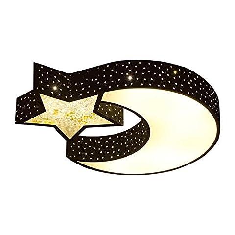ENOCHX Schwarz einfache Eisen LED Deckenleuchte Kinderzimmer Wohnzimmer Schlafzimmer Licht Sternenhimmel Licht 55*40 Versprechen Dimmen mit Fernbedienung