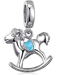 FeatherWish - Colgante de caballo de balancín de plata de ley 925 con esmalte azul para