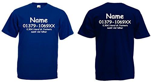 Fruit of the Loom Dschungelcamp T-Shirt inkl. Wunschname+Telefonnummer kostüm|Marineblau-XXL