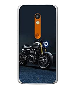 Fuson Designer Back Case Cover for Motorola Moto X Play (Motorcycle Racing Road rash Big wheels Yamaha)