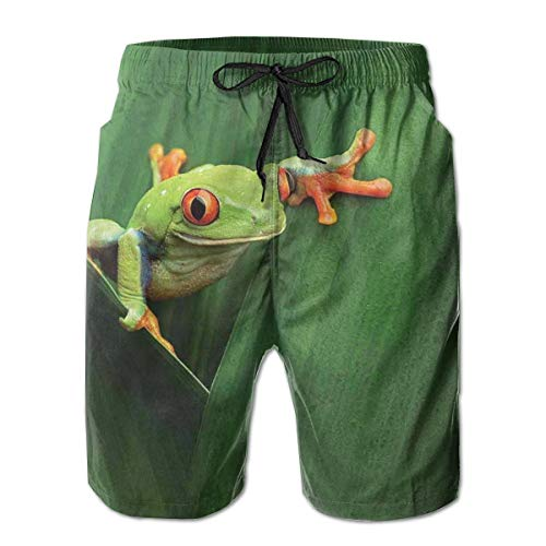 Men Swim Trunks Beach Shorts,Cute Red Eyed Frog Between Exotic Macro Big Leaves Wild Nature Night Animal Vivid Colors,Quick Dry 3D Printed Drawstring Casual Summer Surfing Board Shorts XXL - White Eyed Ducks