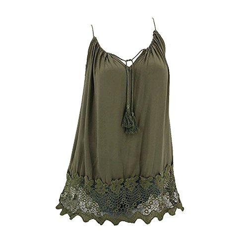 OYSOHE Damen Spitze Weste Frauen Patchwork Tops Ärmellos Tank Cami Bluse Pullover Sommer Shirt (M, WZ-Grün) -
