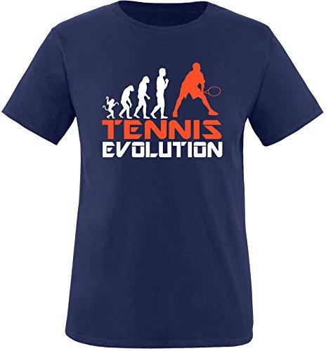 EZYshirt® Tennis Evolution Herren Rundhals T-Shirt Navy/Weiss/Orange