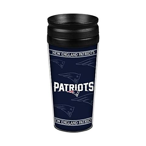 NFL New England Patriots Full Wrap Travel Tumbler, 14-Ounce, Blue