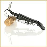 Korkenzieher – Kellnermesser – Sommeliermesser - mit Doppelhebel, Flaschenöffner und Kapselschneider in einem - Naruba Premium (Schwarz)
