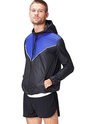 Find giacca a vento con cappuccio uomo, schwarz (black/cobalt blue), medium