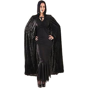 Cape longue avec capuche cape sorcière noire manteau cape vampire noir cape de vampire Dracula cape à capuche cape en velours mort Moyen-Âge accessoire déguisement Halloween