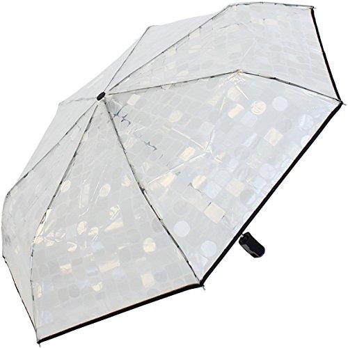Pierre Cardin Taschenschirm Regenschirm durchsichtig transparent mit Auf-Zu-Automatik
