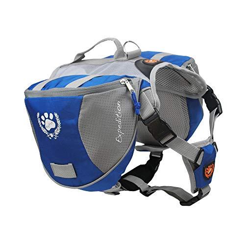 """Teammao Hunderucksack Hundebackpack Leichtgewicht wasserdichter Nylongewebe Einstellbar Tragbar Hunde Satteltasche aus Reisen Camping Wandern Trainings. (L/Büste 30,3""""x 34,2"""")"""