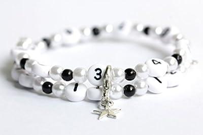 Bracelet d'allaitement de couleur blanc et noir en acrylique