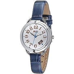 Casual Leather Strap Calendar Quartz Wristwatch For Women,Blue