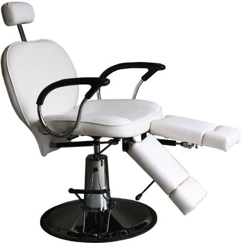 hydraulisch höhenverstellbarer Fußpflegestuhl mit Rücken- und Beinverstellung Farbe weiß