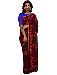 Unnati Silks Women Brown Embroidered Pure Georgette Saree With Blouse from the Weavers of Punjab(UNM26165)