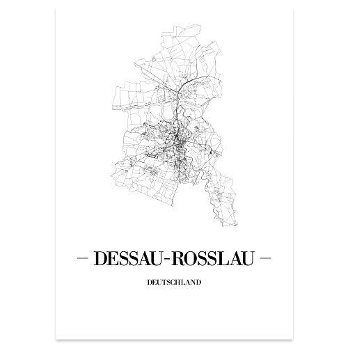 JUNIWORDS Stadtposter - Wähle Deine Stadt - Dessau-Roßlau - 40 x 60 cm Poster - Schrift A - Weiß