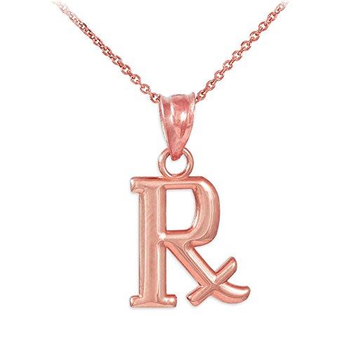 Damen Anhänger Halskette 14 Karat Rotgold Rx Verschreibung Symbol Charm (Kommt mit einem 45cm Kette)