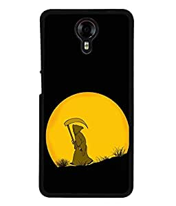 FUSON Designer Back Case Cover for Micromax Canvas Xpress 2 E313 (Black Colour Background Moon Light Yellow art)