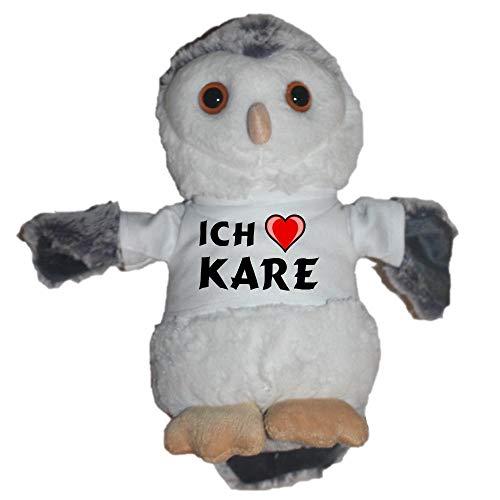SHOPZEUS Eule Plüschtier mit T-shirt mit Aufschrift Ich liebe Kare (Vorname/Zuname/Spitzname)