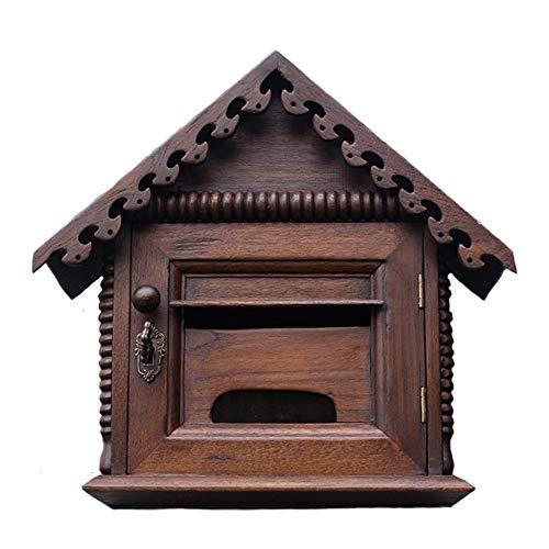 Mailbox - Teak, Retro kreativ mit Schloss im freien wasserdicht regendicht Wandbehang Holz Briefkasten, geeignet für Villen, Höfe, Häuser - 35x16x33cm Hohe Qualität