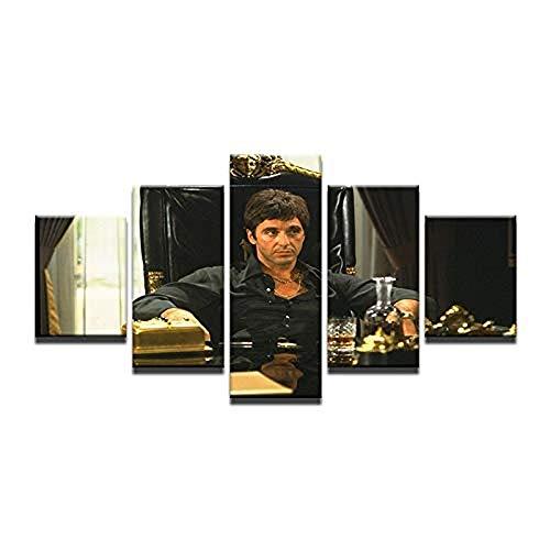 WXHHG 5 Leinwandbilder Rahmen Lakhafzy Rahmenlose Leinwand Kunst Filmstar Al Pacino In Tony Montana Scarface Bild Wandmalerei Cafe Bar Home Decoartion Mit
