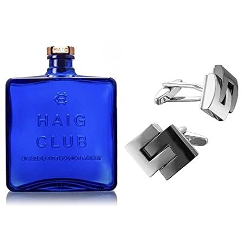 Haig Club Scotch Whisky 35cl and Square Mile Rhodium Plated Cufflinks
